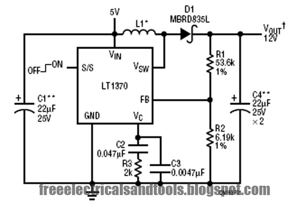 5v to 12v boost converter using lt1370