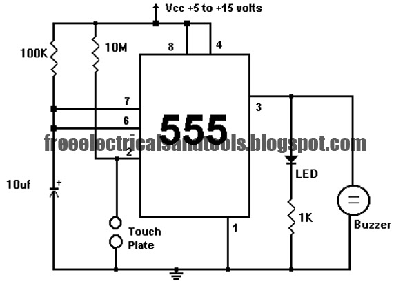touch switch circuit using 555 ic