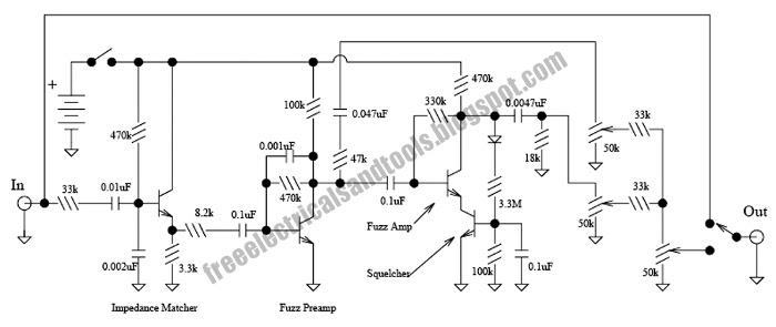 free schematic diagram  maestro fuzz guitar effect circuit