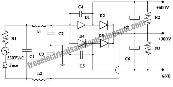 free schematic diagram  600 volt power supply