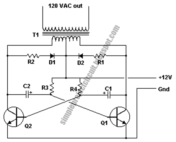simple project circuit  simple 12v to 120v inverter circuit