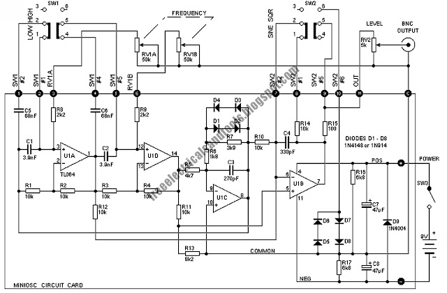 free schematic diagram  miniature audio oscillator circuit