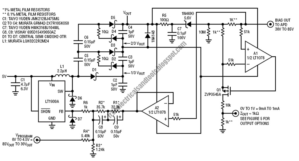 free schematic diagram  apd bias supply and current monitor