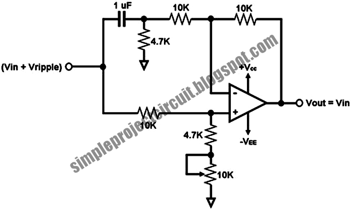3rd eye  simple dc voltage ripple remover circuit