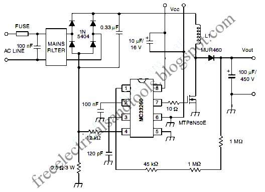 free schematic diagram  active power factor correction circuit