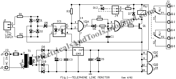free schematic diagram  telephone line monitor circuit