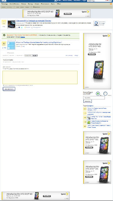 Annoying advertisements of Sprint's HTC EVO 4G on Digg