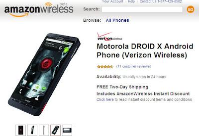 Motorola DROID X on Amazon