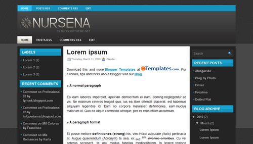 Free Blogger Templates Download: Nursena