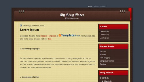 Free Blogger Templates Download: My Blog Notes