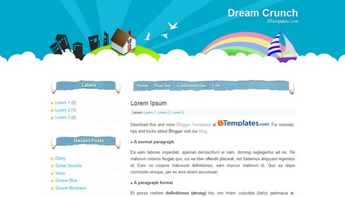 Free Blogger Templates Download: Dream Crunch