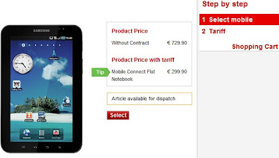 Vodafone.de offers Samsung Galaxy Tab for  €730 or €300 with a two-year contract