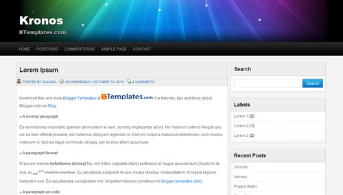 Free Blogger Templates Download: Kronos