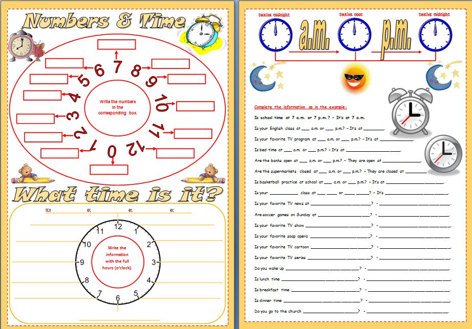Worksheet to practice numbers (0 to 12) and the hours. with a short