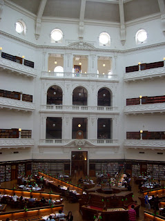 The circular reading room in the rotunda of the State Library