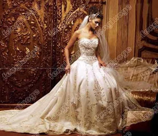 An antiqued ballgown wedding dress.