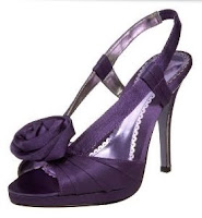 Purple shoe with rose embellishment