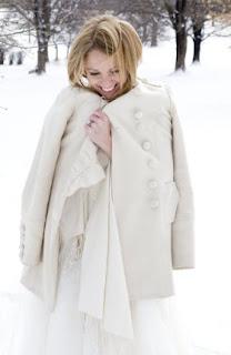 A cute and cozy winter wedding bride portrait.