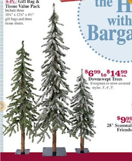 Affordable Evergreen tree centerpieces from the Christmas Tree Shop.