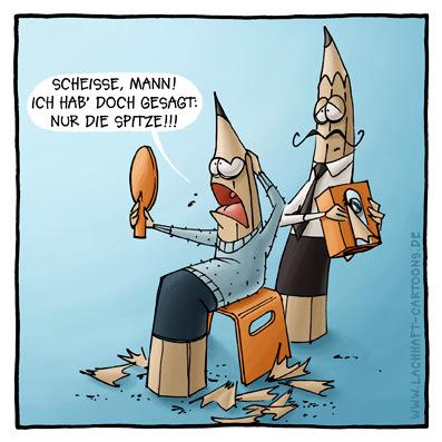 Bleistift beim Friseur Bleistifte verschnitten Späne Klage Beschwerde Cartoon Cartoons Witze witzig witzige lustige Bildwitze Bilderwitze Comic Zeichnungen lustig Karikatur Karikaturen Illustrationen Michael Mantel lachhaft Spaß Humor