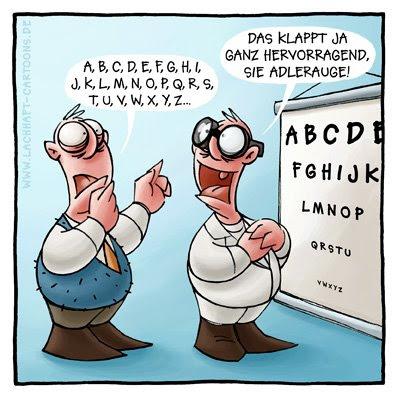 Arzt Arztbesuch Augenarzt Sehtest Optiker gucken Brille Adlerauge Cartoon Cartoons Witze witzig witzige lustige Bilder Bilderwitz Bilderwitze Comic Zeichnungen lustig Karikatur Karikaturen Illustrationen Michael Mantel lachhaft Spaß Humor Witz