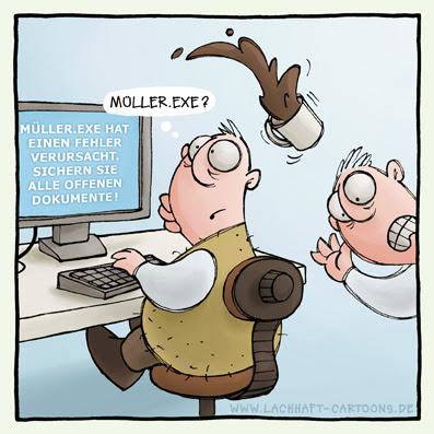 Computer Fehlermeldung Büro Kaffee stolpern gestolpert Windows Männer sichern speichern Cartoon Cartoons Witze witzig witzige lustige Bildwitze Bilderwitze Comic Zeichnungen lustig Karikatur Karikaturen Illustrationen Michael Mantel lachhaft Spaß Humor