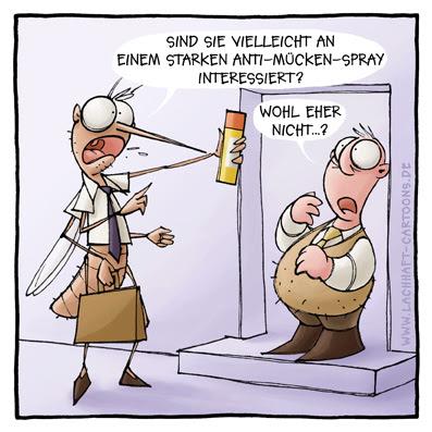Vertreter verkaufen andrehen Verarschung Insektenspray Anti Mücken Spray  Cartoon Cartoons Witze witzig witzige lustige Bildwitze Bilderwitze Comic Zeichnungen lustig Karikatur Karikaturen Illustrationen Michael Mantel lachhaft Spaß Humor