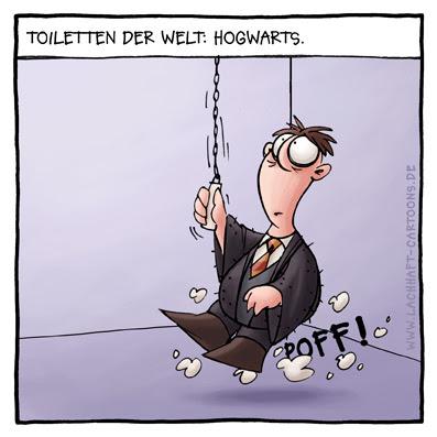 Klowitz Klo Toiletten der Welt Hogwarts Harry Potter zaubern verschwunden Cartoon Cartoons Witze witzig witzige lustige Bildwitze Bilderwitze Comic Zeichnungen lustig Karikatur Karikaturen Illustrationen Michael Mantel lachhaft Spaß Humor