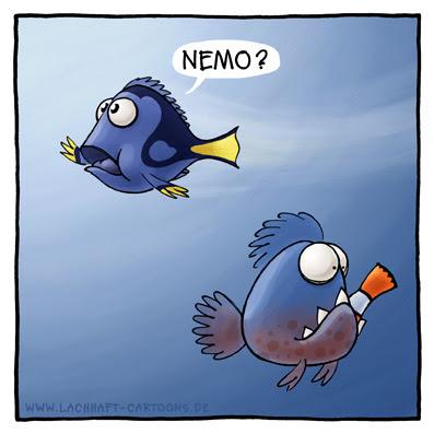 Findet Nemo Doris Piranhas Fische gefressen Appetit verfressen Cartoon Cartoons Witze witzig witzige lustige Bildwitze Bilderwitze Comic Zeichnungen lustig Karikatur Karikaturen Illustrationen Michael Mantel lachhaft Spaß Humor