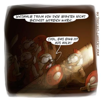 LACHHAFT Cartoon trojanisches Pferd Troja Biber Holz essen verfressen Appetit Armee Krieger Soldaten Cartoons Witze witzig witzige lustige Bildwitze Bilderwitze Comic Zeichnungen lustig Karikatur Karikaturen Illustrationen Michael Mantel Spaß Humor