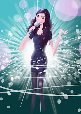 Michael Mantel Illustration Lena Meyer-Landrut Unser Star für Oslo Eurovision Song Contest Grand Prix Zeichnung Grafik Bild
