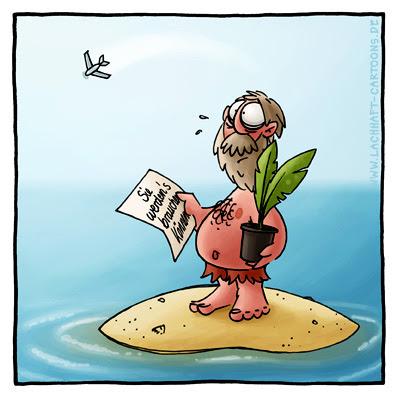 Einsame Insel Robinson Post Brief Palme Schatten Geschenk  Cartoon Cartoons Witze witzig witzige lustige Bildwitze Bilderwitze Comic Zeichnungen lustig Karikatur Karikaturen Illustrationen Michael Mantel lachhaft Spaß Humor