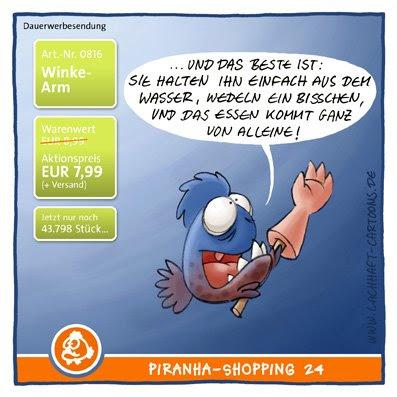 Piranhas Shoppingkanal TV Sender Verkaufsfernsehen Winkearm Arm ab winken makaber Essen Hilferuf Hilfsbedürftigkeit ausnutzen Cartoon Cartoons Witze witzig witzige lustige Bildwitze Bilderwitze Comic Zeichnungen lustig Karikatur Karikaturen Illustrationen Michael Mantel lachhaft Spaß schwarzer Humor