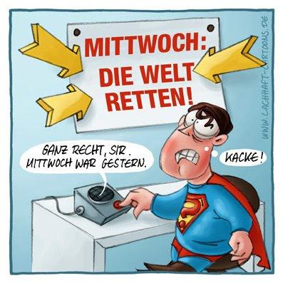 Superheld Superman verpatzt die Welt retten verpasste Gelegenheit Cartoon Cartoons Witze witzig witzige lustige Bildwitze Bilderwitze Comic Zeichnungen lustig Karikatur Karikaturen Illustrationen Michael Mantel lachhaft Spaß Humor