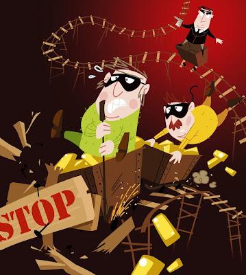 Michael Mantel für die Bilderwumme Illustratoren Corinna Hein Jahreskalender 2009 Banditen Goldraub Ausbruch Agent Verfolgungsjagd