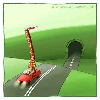 Auto Cabrio fahren Tunnel gefährlich Gefahr Giraffe kopflos Cartoon Cartoons Witze witzig witzige lustige Bildwitze Bilderwitze Comic Zeichnungen lustig Karikatur Karikaturen Illustrationen Michael Mantel lachhaft Spaß Humor