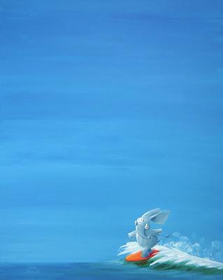 Michael Mantel fütr die Bilderwumme Ausstellung Kunst Gem&aumllde Bild groß Elefant Wellenreiten Surfen Himmel blau Welle Wasser