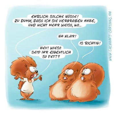 Eichhörnchen Nüsse vergraben verfressen essen fett dick Winterspeck beklaut Diebstahl Diebe Cartoon Cartoons Witze witzig witzige lustige Bildwitze Bilderwitze Comic Zeichnungen lustig Karikatur Karikaturen Illustrationen Michael Mantel lachhaft Spaß Humor