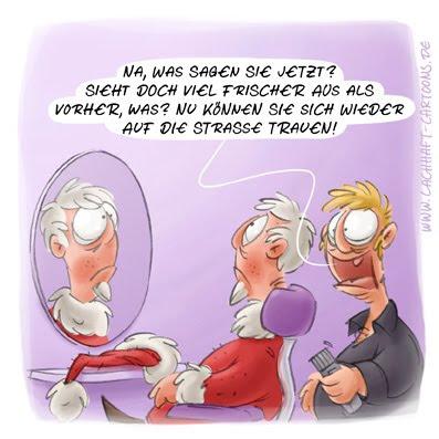 LACHHAFT Cartoon Weihnachtsmann beim Friseur Weihnachten Nikolaus Bart Haare Schneiden Rasur rasieren Coiffeur Cartoons Witze witzig witzige lustige Bildwitze Bilderwitze Comic Zeichnungen lustig Karikatur Karikaturen Illustrationen Michael Mantel Spaß Humor