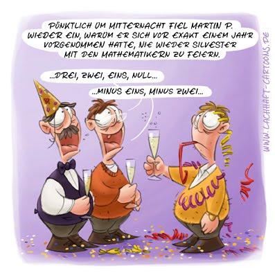 LACHHAFT Cartoon Silvester Party Feier anstoßen Sekt Mitternacht Neujahr neues Jahr Countdown anzählen Mathematiker Mathematik Spielverderber Spaßbremse Cartoons Witze witzig witzige lustige Bildwitze Bilderwitze Comic Zeichnungen lustig Karikatur Karikaturen Illustrationen Michael Mantel Spaß Humor