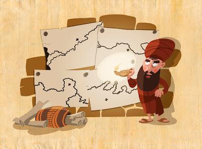 Michael Mantel Illustration für GEOlino extra Das alte Ägypten Archäologe Archäologie Belzoni Basar Landkarten Lampe Petroleumlampe