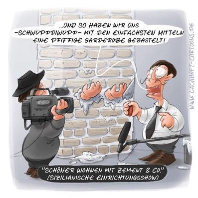 LACHHAFT Cartoon Garderobe einmauern Zement basteln Fernsehen Mafia Wohnen TV Show Einrichtungsshow Vorher Nachher Italien Sizilien sizilianisch  Cartoons Witze witzig witzige lustige Bildwitze Bilderwitze Comic Zeichnungen lustig Karikatur Karikaturen Illustrationen Michael Mantel Spaß Humor