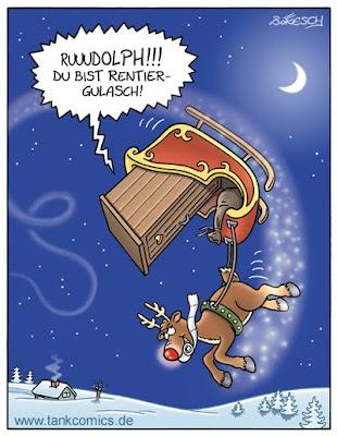 LACHHAFT Adventskalender Cartoon von Gerd Bökesch Toiletten der Welt Weihnachtsmann Schlitten Rudolph Rudolf Rentier Renntier