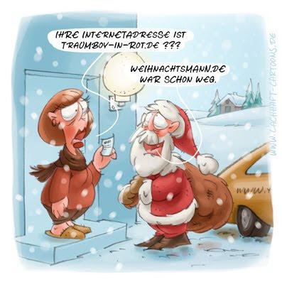 LACHHAFT Cartoon Weihnachten Weihnachtscartoon Weihnachtsmann Internet Website Homepage Adresse Visitenkarte Traumboy in rot Cartoons Witze witzig witzige lustige Bildwitze Bilderwitze Comic Zeichnungen lustig Karikatur Karikaturen Illustrationen Michael Mantel Spaß Humor