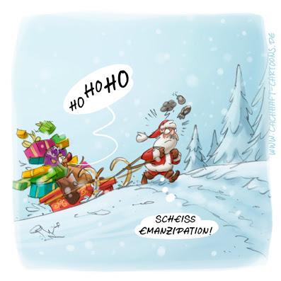 LACHHAFT Cartoon Weihnachten Weihnachtscartoon Weihnachtsmann Emanzipation Winter Schnee Schlitten Geschenke Weihnachtsmann Rentier Rudolph Rudolf Rollentausch Cartoons Witze witzig witzige lustige Bildwitze Bilderwitze Comic Zeichnungen lustig Karikatur Karikaturen Illustrationen Michael Mantel Spaß Humor
