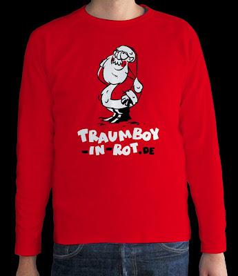 LACHHAFT Adventskalender Shopping Geschenke Weihnachten Weihnachtsmann Shirt Pulli Traumboy in rot