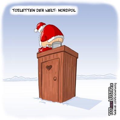 LACHHAFT Adventskalender Cartoon von Michael Holtschulte Toiletten der Welt Klowitz Weihnachtsmann Weihnachten