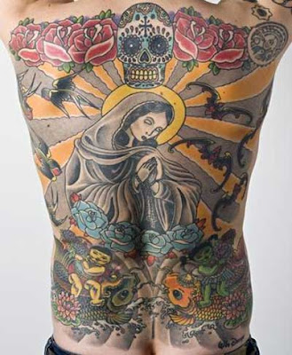 skull back tattoos
