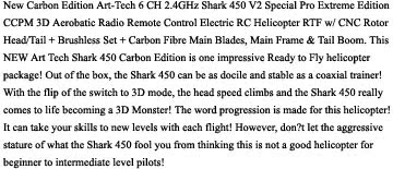 Art-Tech 6 CH 2.4GHz Shark 450 V2 Description Images