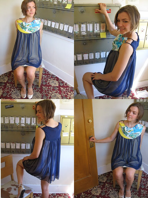 Martinique- vintage printed silk. repurposed soft buttercup jersey (lining). navy chifon.